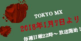 TOKYO MX 2018年1月7日より 毎週二ティ用22時〜放送開始